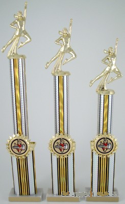 Double Column Cheerleading Trophy with Star Holder - Set