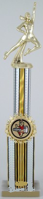 Double Column Cheerleading Trophy with Star Holder - Small-Trophies-Schoppy's Since 1921
