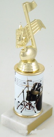 Drums Trophy with Custom Round Column-Trophies-Schoppy's Since 1921
