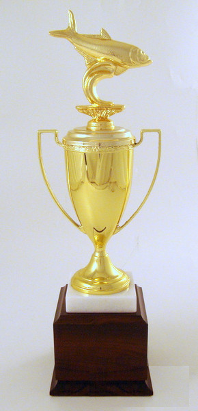Dye Cast Fish Choice Cup Trophy - Metal Figure with Marble & Walnut Base