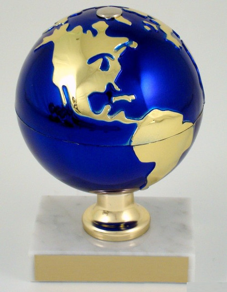Earth Day Globe on White Marble Trophy