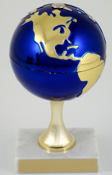Earth Day Globe Stem on White Marble Trophy