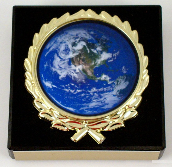 Earth Day Logo on Black Marble Paperweight