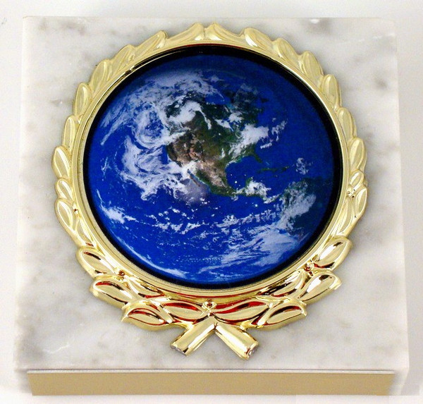 Earth Day Logo on White Marble Paperweight