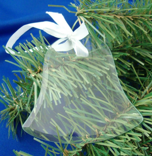 Bell Shaped Glass Ornament w/ White Ribbon
