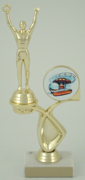 Pinball Trophy with Logo in Offset-Trophies-Schoppy's Since 1921