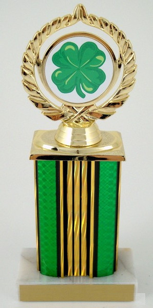 "St. Patrick's Day Logo on 6"" Wide Column Trophy-Trophies-Schoppy's Since 1921"