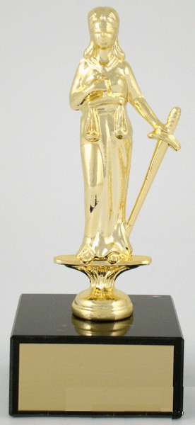 Justice Dye Cast Trophy on Black Marble Base