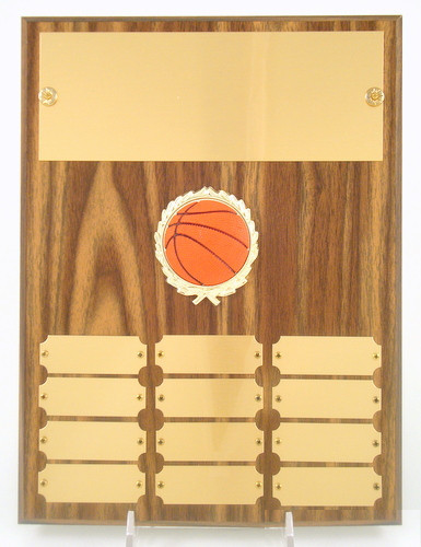 Basketball 12 Plate Perpetual Plaque with Relief Ball Logo