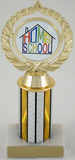 "Home School Logo Trophy on 3"" Column-Trophies-Schoppy's Since 1921"