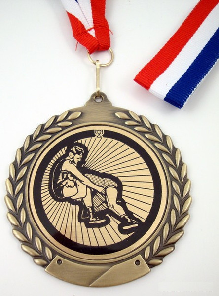 Wrestler Medal Red White Blue Ribbon MMWRWBR