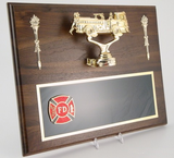 Walnut Plaque with Fire Truck and Fire Department Logo-Plaque-Schoppy's Since 1921