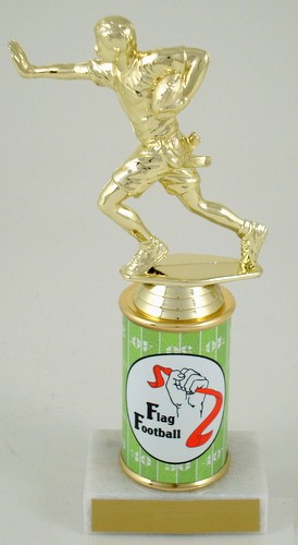 Flag Football Original Metal Roll Column Trophy