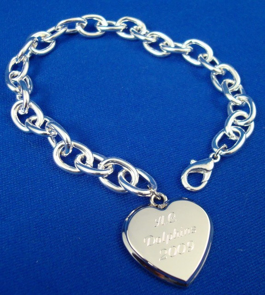 Sterling Silver Plated Bracelet with Heart Pendant