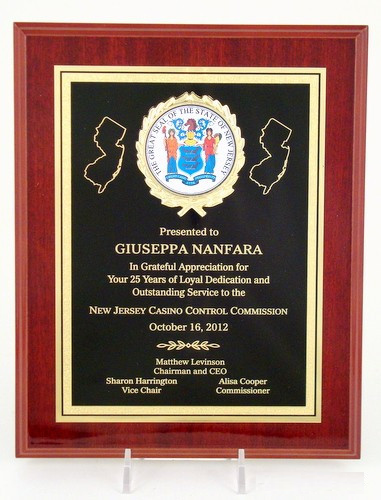 High Gloss Mahogany plaque with the Great Seal of New Jersey 8x10