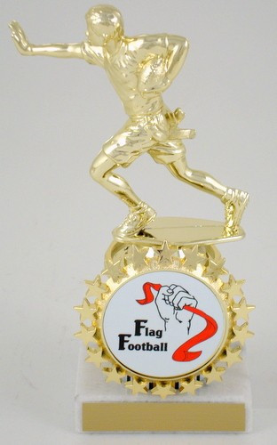Flag Football Trophy with Logo On Marble