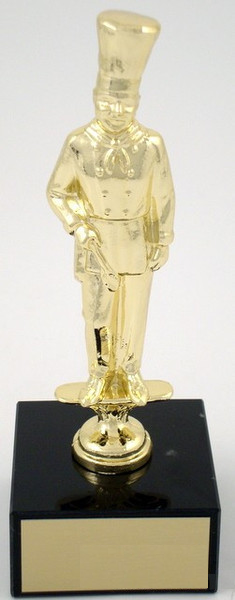 Chef Trophy Metal Figure on Black Marble Base