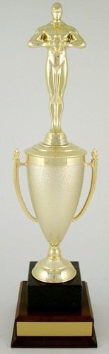 Achievement Cup Trophy on Black Marble and Wood Base