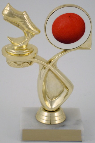 Kickball Foot and Logo Trophy on Marble Base