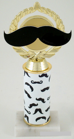 Mustache Trophy on Original Metal Roll Column