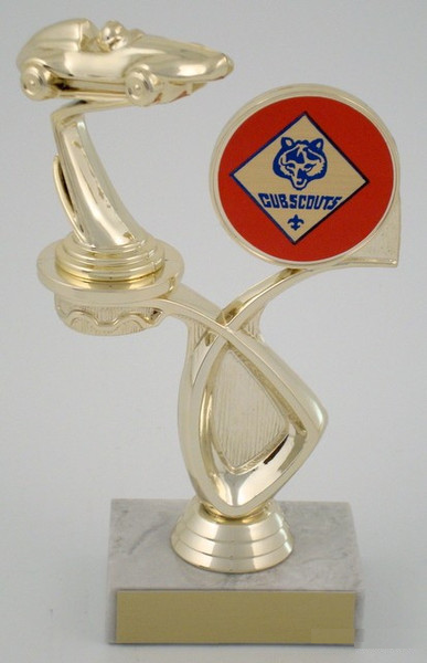 Pinewood Derby Trophy with Cub Scout Emblem on Offset Riser-Trophies-Schoppy's Since 1921