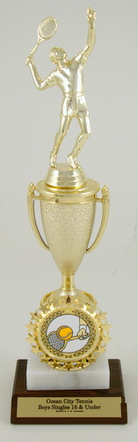 Tennis Cup Logo Trophy on Marble and Wood Base Small