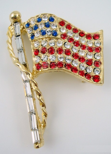 Rhinestone Flag Pin - Gold Lg. w/ Red White & Blue rhinestones