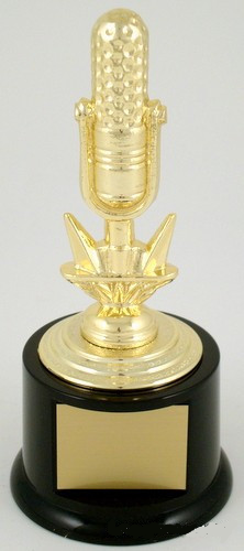 Golden Microphone Trophy on Round Base