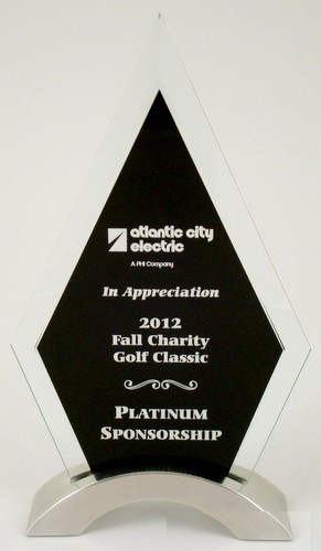 Glass Award with Black Silk Screen Engravable Area-Glass & Crystal Award-Schoppy's Since 1921