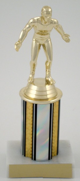 Wrestler Trophy on 3 Inch Round Column