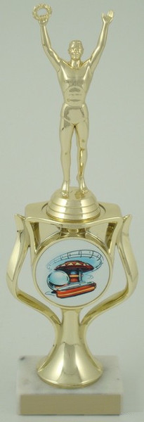 Pinball Trophy with Logo in Riser