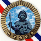 Gold Medal with King Neptune Logo 5 Stars-Medals-Schoppy's Since 1921