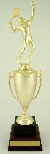 Tennis Cup Trophy on Black Marble and Wood Base