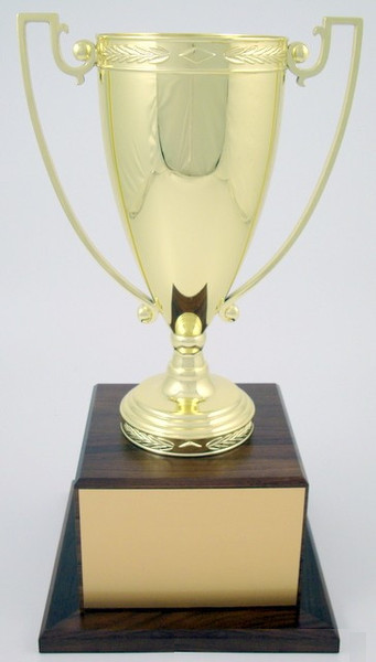 Trophy Cup - Large Gold Metal on Walnut Base-Trophies-Schoppy's Since 1921
