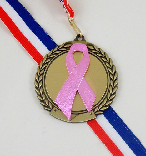 Awareness Ribbon Medal on Red, White, and Blue Neck Ribbon