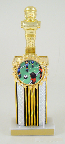 Foosball Wide Column Logo Holder Trophy