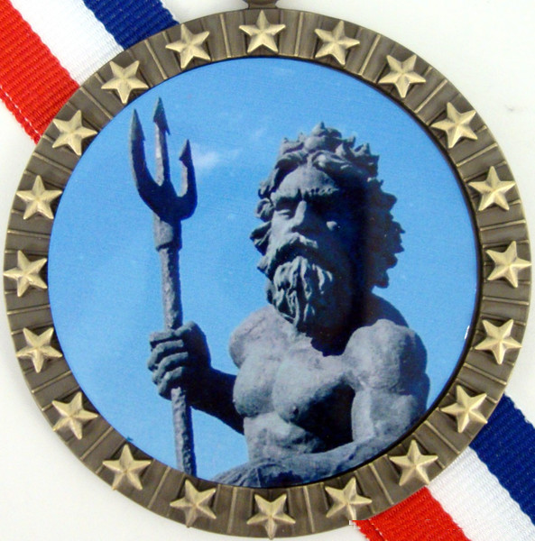 Gold Medal with King Neptune Logo Stars-Medals-Schoppy's Since 1921