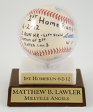 Acrylic Baseball Holder on Marble and Slant Front Wood Base-Trophies-Schoppy's Since 1921