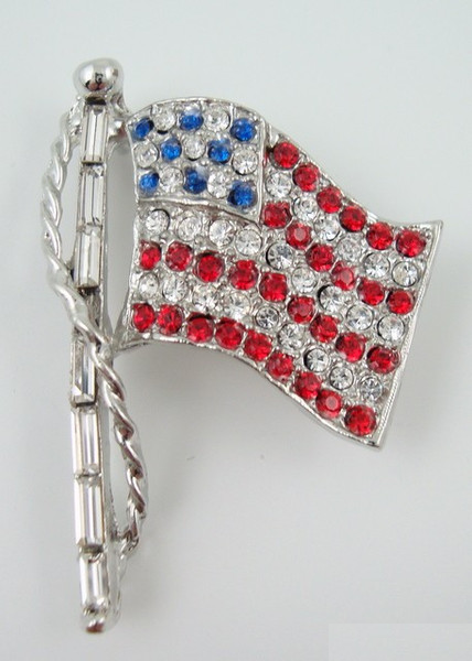 Rhinestone Flag Pin - Silver Lg. w/ Red White & Blue rhinestones-Jewelry-Schoppy's Since 1921