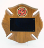 Walnut Maltese Cross Plaque Small with Fire Company Logo-Plaque-Schoppy's Since 1921