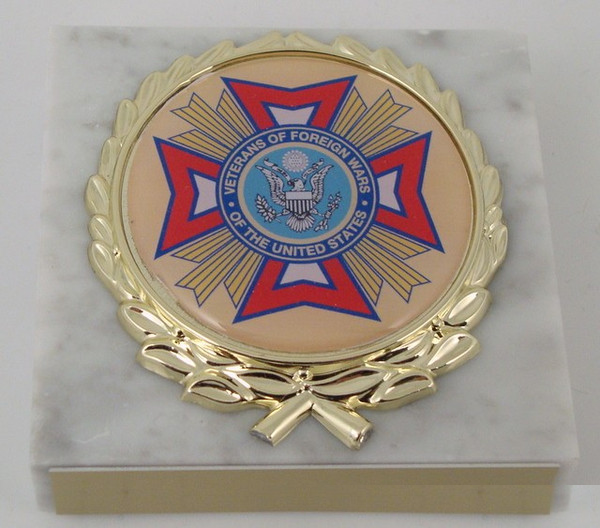 White Marble VFW Paperweight