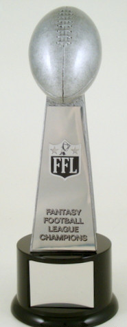 Fantasy Football Championship Trophy on Black Round Base