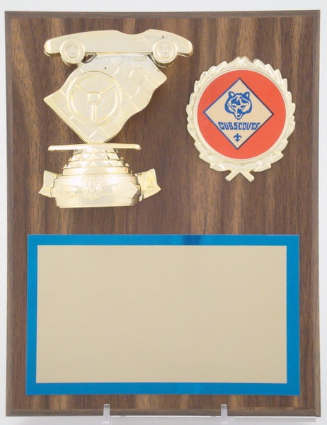 Pinewood Derby Plaque with Cub Scout Emblem-Plaque-Schoppy's Since 1921