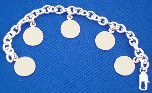 Sterling Silver Plated Bracelet with 5 Round Pendants