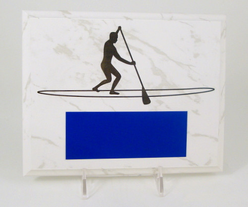 Paddleboard White Marbled Plaque