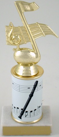 Recorder Trophy with Custom Round Column-Trophies-Schoppy's Since 1921