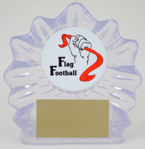 Flag Football Logo Acrylic Shell Trophy