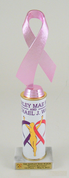 Awareness Ribbon Custom Roll Column Trophy