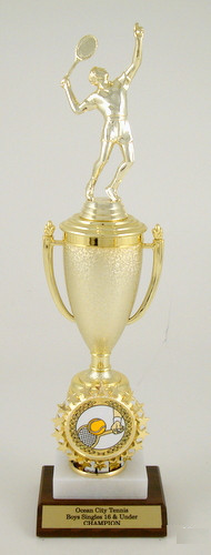 Tennis Cup Logo Trophy on Marble and Wood Base
