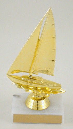 Sailboat Trophy on Marble - Large